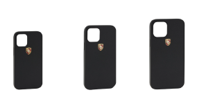 Snap-On Black Leather Porsche Crest Case - iPhone 12 - Porsche (WAP-030-014-0M-SOCc)