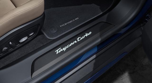 9J1 Taycan (2020+) Carbon Fiber Matt Door Sill Guards - Illuminated - Porsche (9J1-073-800-B)