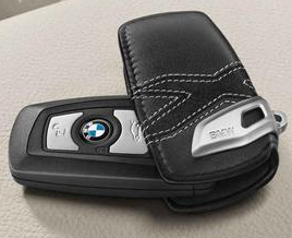 Leather Key Case with Stainless Steel Clip - X Line, Black - BMW (82-29-2-355-521)
