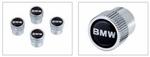 """""""BMW"""" Lettering Valve Stem Caps - Silver Lettering on Black Background"""