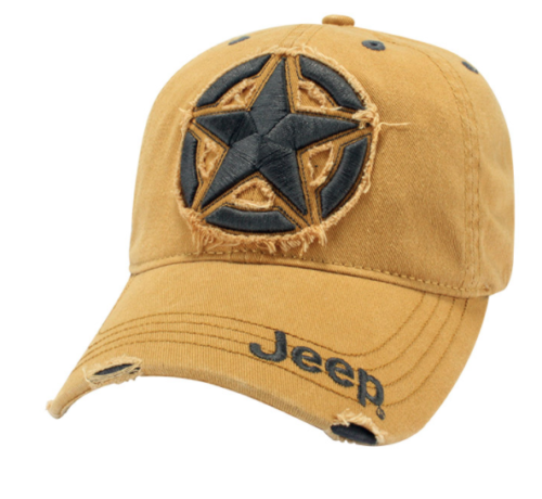 New Jeep ® 3D Star Cap Baseball Hat Cap Embroidered Yellow Distressed Mopar - Mopar (114JF)