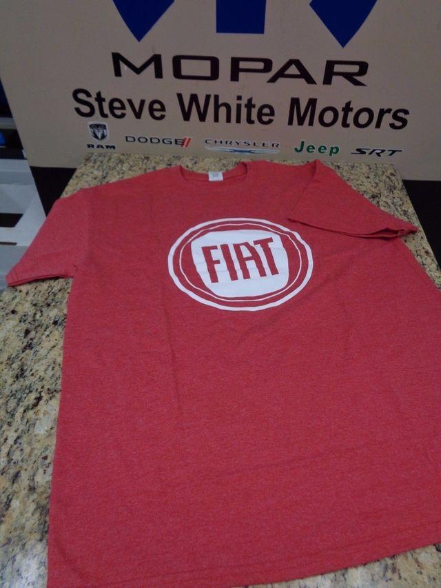 New Fiat Stamp Logo T-Shirt Shirt Tshirt Red & White XL 50% cotton 50% poly - Mopar (1215P-XL)