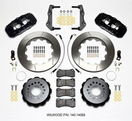 Challenger Charger Rear Big Brake Kit Calipers Slotted Rotors Black Wilwood - Mopar (140-14068)