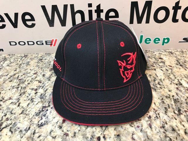 New Demon Flat Brim Cap Baseball Hat Cap Ballcap Black & Red One Size Fits Most - Mopar (123XM)