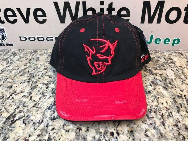 New Demon Distressed Cap Baseball Hat Cap Ballcap Black & Red One Size Fits Most - Mopar (123xn)