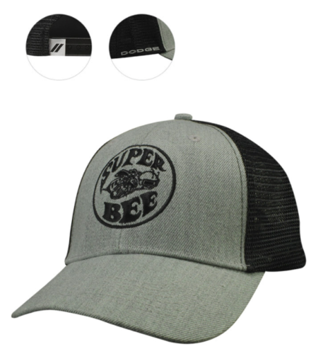 New Dodge Super Bee Cap Baseball Hat Mesh Back Panel Grey Wool One Size Mopar - Mopar (127HG)