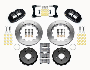 07-18 Jeep Wrangler Front Big Brake Kit Calipers Slotted Rotors Black Wilwood - Mopar (140-12440)