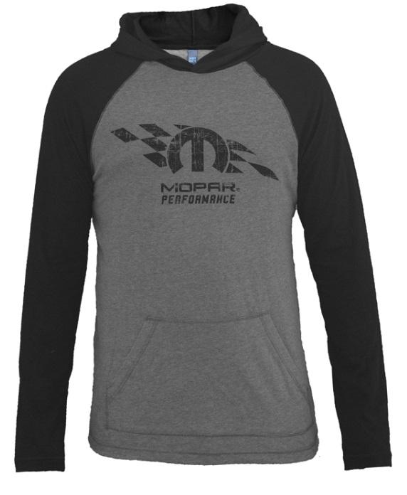 New Mopar Performance Raglan Hooded Long Sleeve T-Shirt Shirt Gray / Black XL - Mopar (A72349942X)