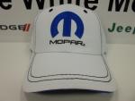 New Mopar White Contrast Stitched Ballcap Cap Hat One Size Fits Most Velcro - Mopar (A66380042N)