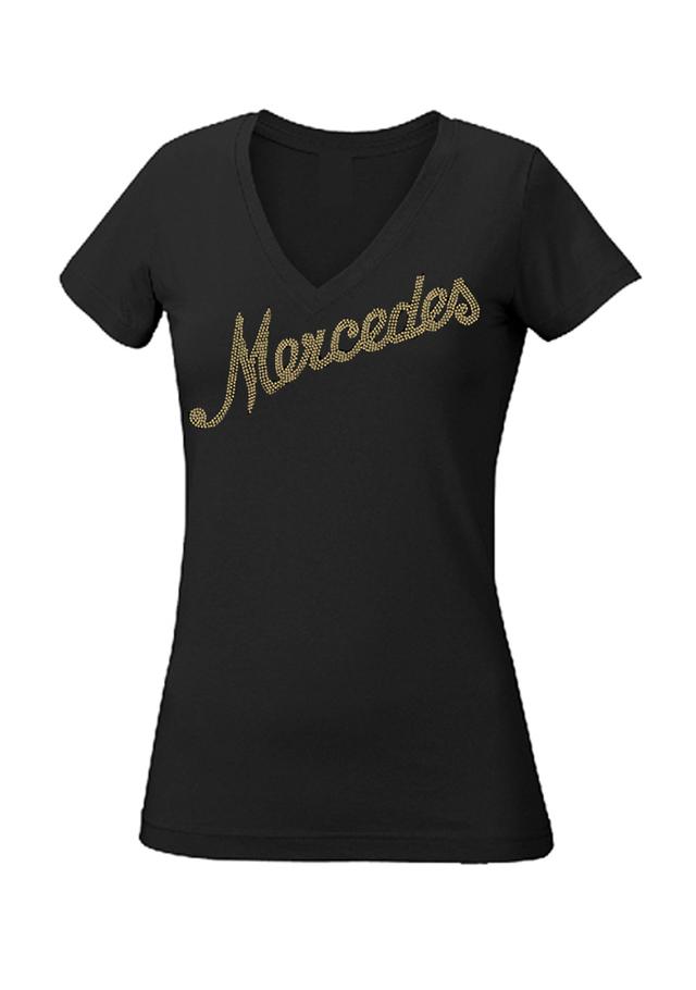 Women's Rhinestone Script T-Shirt - Mercedes-Benz (MWL-555-BK-)