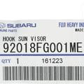 NEW 08-17 Subaru Sunvisor Hook Clip Crosstrek Impreza Outback OEM 92018FG001ME - Subaru (92018FG001ME)