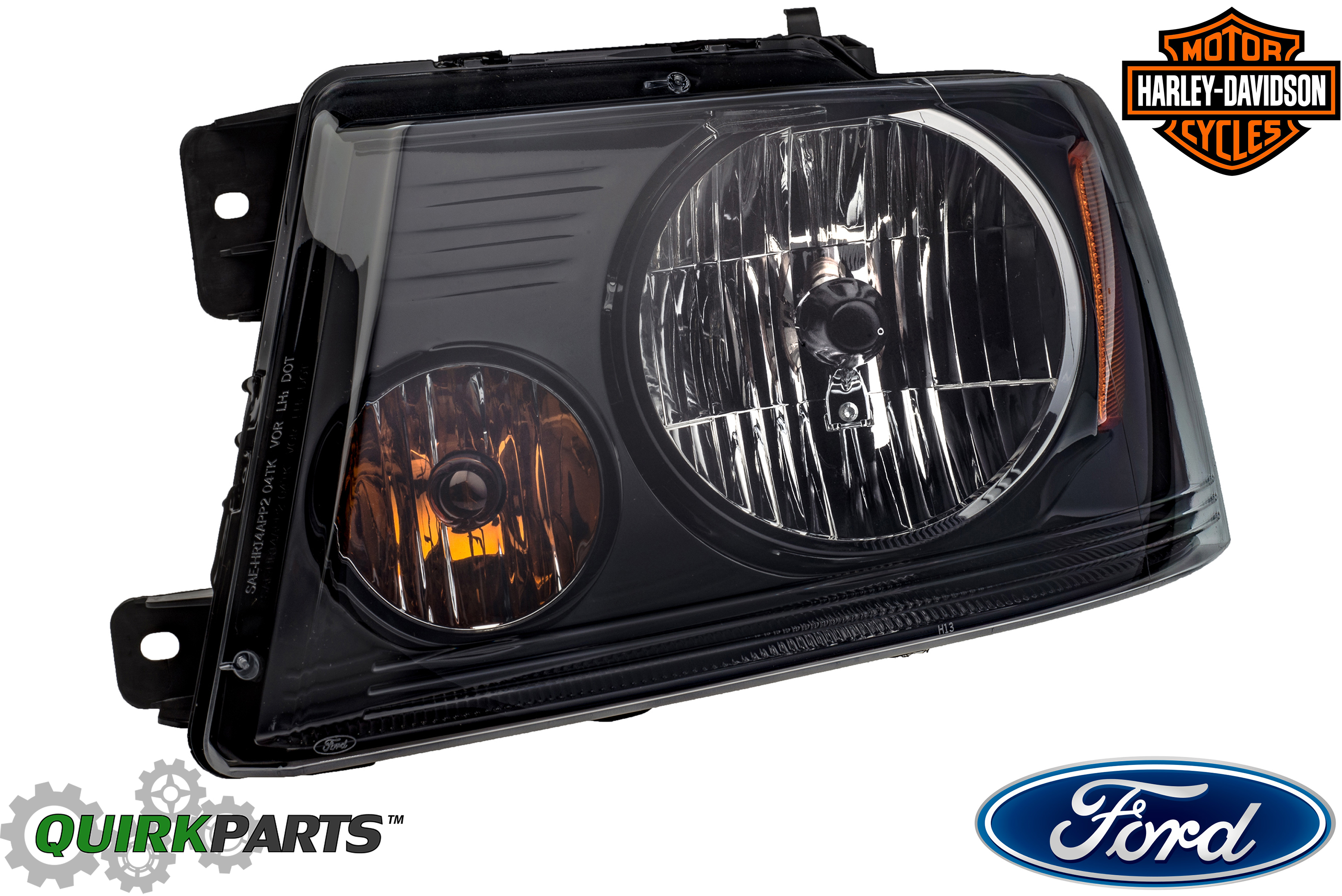 2004-2008 Ford F-150 Harley Davidson Blackout Smoked Headlight Lamp Driver OEM - Ford (7L3Z-13008-HA)