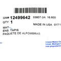 2007-2012 Cadillac Chevy GMC Light Truck & SUV 2nd Row Vinyl Floor Mat Ebony OEM - GM (12499642)