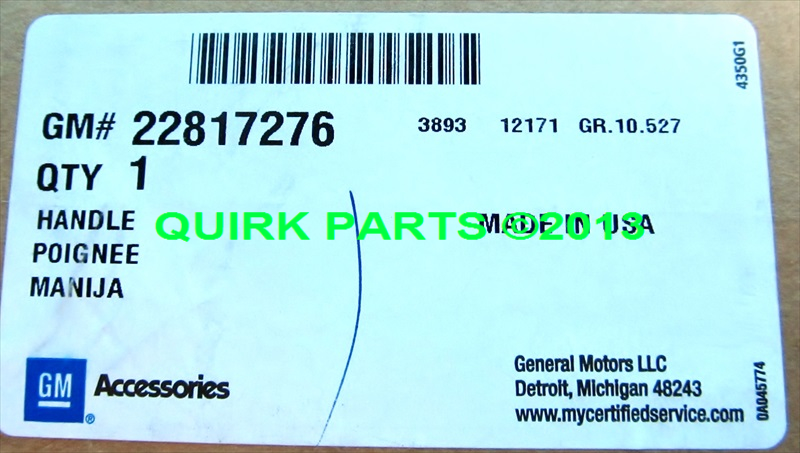 2013 Chevrolet Malibu & Buick Regal DOOR HANDLE PKG Topaz/Metallic OEM GENUINE - GM (22817276)