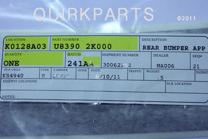 Genuine Kia 86654-2K000 Bumper Bracket Assembly