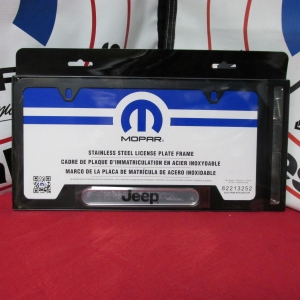 License Plate, Frame, Jeep Logo, Satin Black - Mopar (82213252AB)