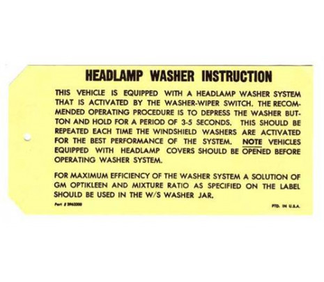 1969 Headlight Washer Instructions - Classic Muscle (3963200)
