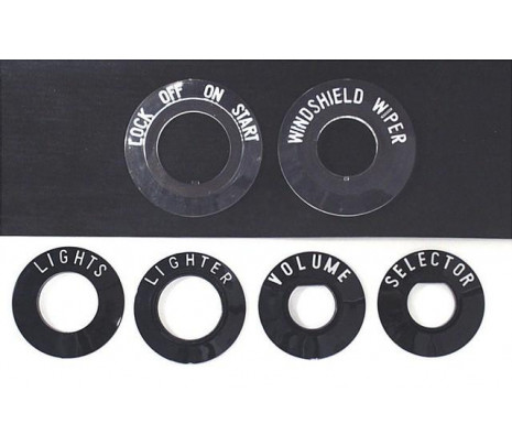 1955-1956 150/210 Series Bezel Set (inlcudes ignition, wiper, headlamp, lighter, selector & volume) MADE IN USA - Classic Muscle (1060-T)