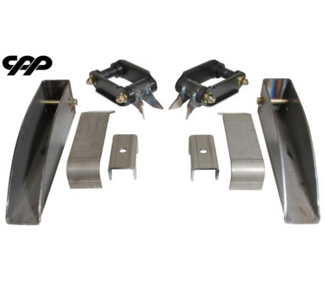 1955-1957 Chevy Belair 150, 210, Nomad, Rear Leaf Spring Relocation Pocket Kit, Basic - Classic Muscle (136-158)