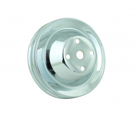 Water Pump Pulley - Small Block Chevy - Long Style Pump - Chrome Plated - Classic Muscle (1810C)