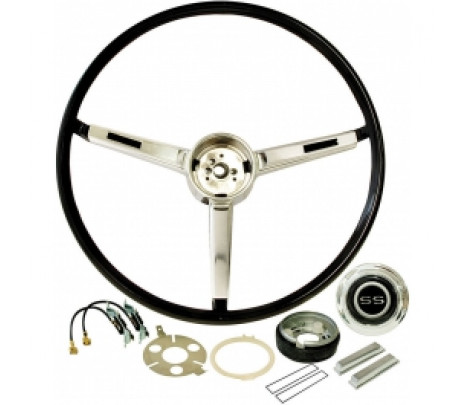 1967 Nova and Chevelle Deluxe Steering Wheel Kit - Black with SS Emblem - Classic Muscle (9745764K)