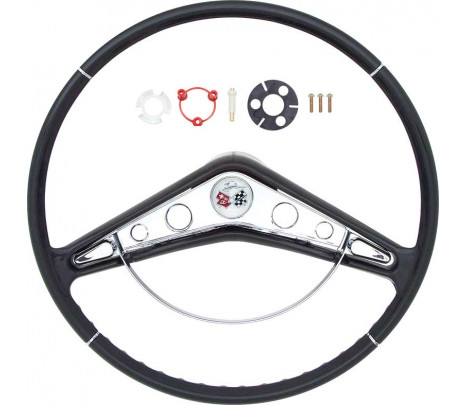 """1959-60 Full Size Chevrolet 17"""" Steering Wheel With Horn Ring And Emblem - Classic Muscle (9163B)"""