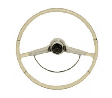 1965 Impala White Steering Wheel Complete,Inc Wheel,Horn Ring,Cap w/emblem and Horn Contacts - Classic Muscle (9742433)