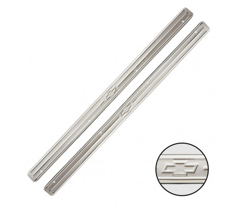 1955-57 Full-Size Chevrolet 2 Door Stainless Steel Sill Plates with Embossed Bow Tie. Pair - Classic Muscle (103569)