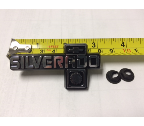 1981-87 C10 Dash Panel Emblem (SILVERADO)EMBLEM 3 Inches long with two 3/16 studs on back and two Pal nuts to mount - Classic Muscle (14023051R)