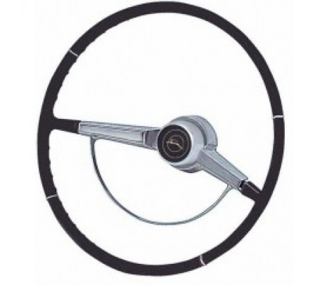 1966 Impala Black Standard Steering Wheel Complete,inc Wheel,Horn Ring Center Cap and Horn Contacts - Classic Muscle (9302BB)