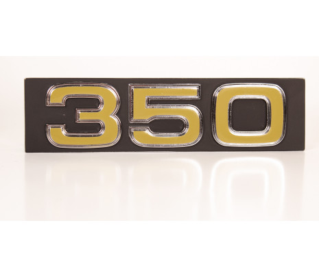 "1975-76 Chevy Truck Blazer Suburban Grille Emblem - ""350"" - Black & Gold - Classic Muscle (407512)"
