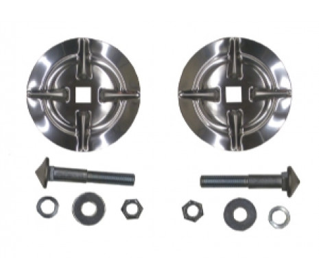 57 CHEV FRONT BUMPER BULLET METAL INSERTS W/ HARDWARE (PAIR) - Classic Muscle (1357B)