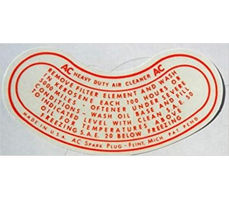 1949-1954 AC OIL BATH AIR CLEANER DECAL - Classic Muscle (DC1057)