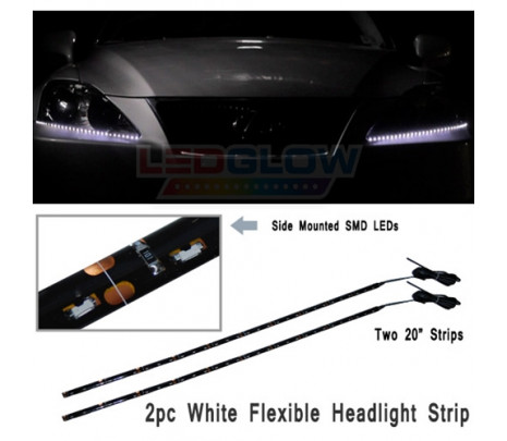 LEDGlow 2pc White LED Headlight Strips - Classic Muscle (RP5245)