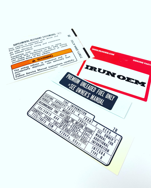 Genuine OEM IRUNOEM INTEGRA TYPE R LABELS Part# Label-itr