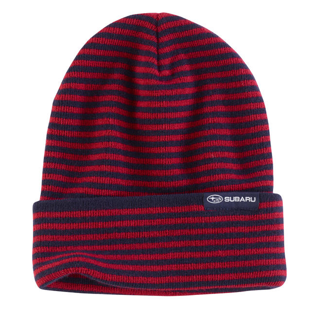 Knit Hat / Striped Red & Navy