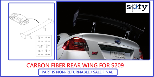 Rear Spoiler Carbon Fiber 2018-2019 STI S209 - Subaru (ST96050VV690)