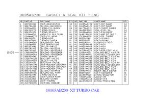 Engine Gasket Kit [ 2.55 XT ] - Subaru (10105AB2309X)