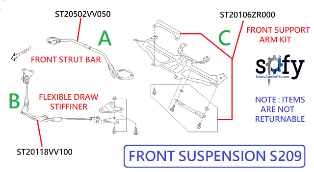 Front Suspension Flex Tower Bar  S209 [ item A ] - Subaru (ST20502VV050)