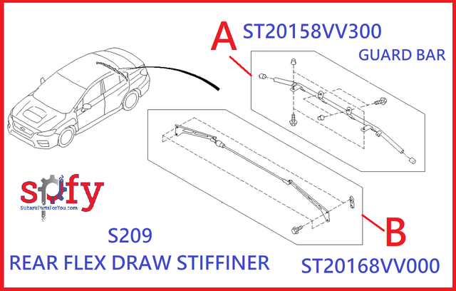 Rear Flex Draw Stiffiner S209 [ ITEM B ] - Subaru (ST20168VV000)