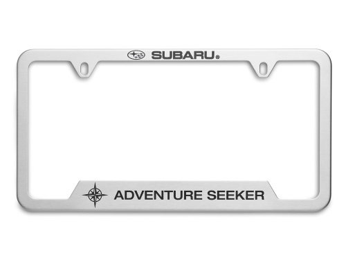 License Plate Frame Adventure Seeker [ Polished Chrome ] - Subaru (SOA342L164)