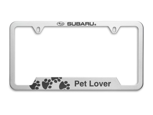 License Plate Frame Pet Lover [ Polished Chrome ] - Subaru (SOA342L166)