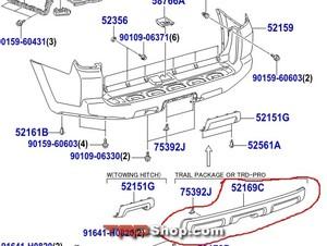 Rear Bumper Cover, Lower TRD Pro - 4Runner (2014+) - Toyota (52169-35120)