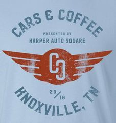 Harper Auto Square's Cars & Coffee 2018 T-Shirt by Label Industries (Light Blue) - Porsche (C-C2018LBlue)
