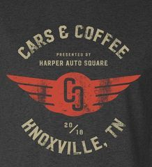 Harper Auto Square's Cars & Coffee 2018 T-Shirt by Label Industries (Grey) - Porsche (C-C2018Grey)
