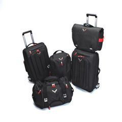 ***HOT NEW CORVETTE PRODUCT***Five-Piece Luggage Set in Jet Black with Crossed Flags Logo - GM (LUGGAGE)