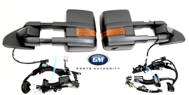 2014-2019 Silverado Sierra Manual Fold Black Camper Trailer Tow Mirrors With Door Harnesses - GM (23372182-84290984-8420964)