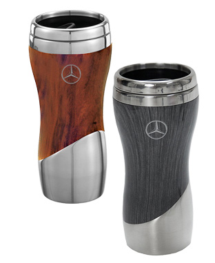 Double wall stainless steel and wood grain tumbler - Mercedes-Benz (AMHD135)
