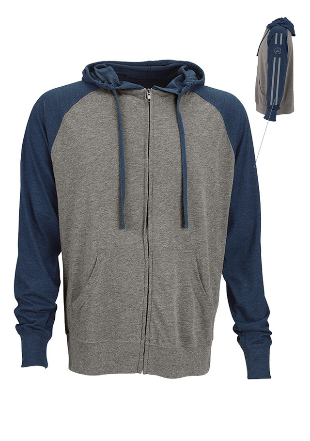 mercedes benz men 39 s full zip knit hoodie mwm395 oemercedes. Black Bedroom Furniture Sets. Home Design Ideas