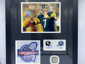 Ben Roethlisberger Autographed Photo with Super Bowl Replica Ring - Sports Memoribilia (BEN-ROT-PHO-RIN)